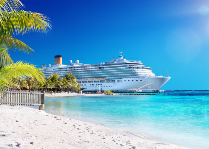 cruise ship docked in caribbean