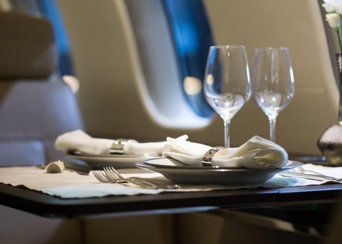wine glasses on plane