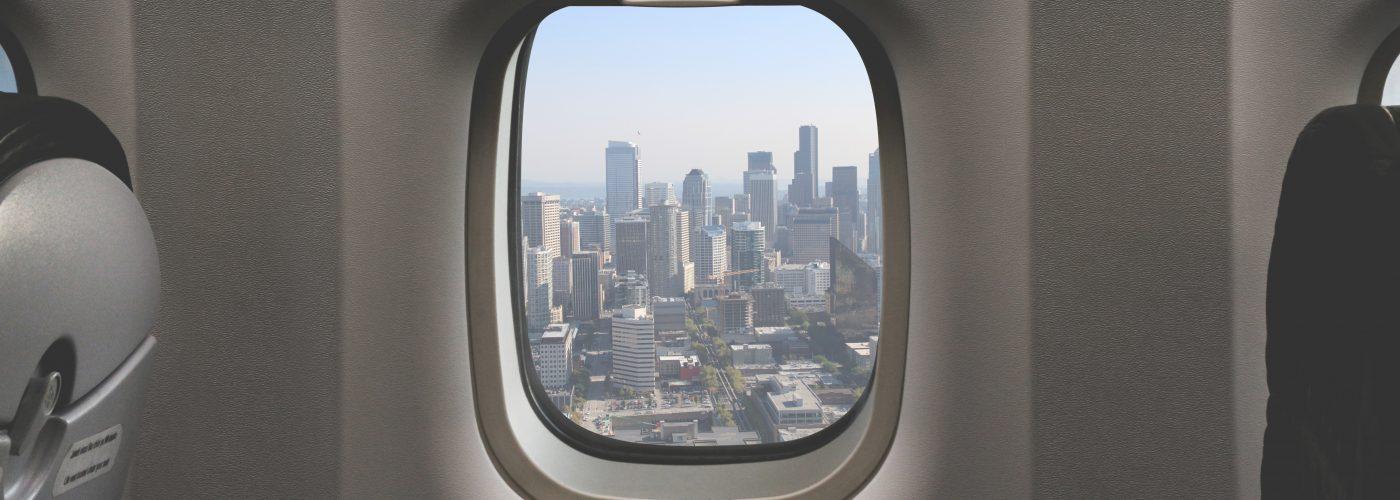 Airplane Window City View