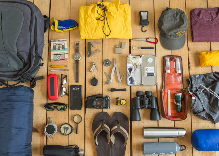 organized items for travel.