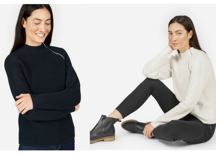 apres ski clothes The Fisherman Cotton Zip Pullover by Everlane