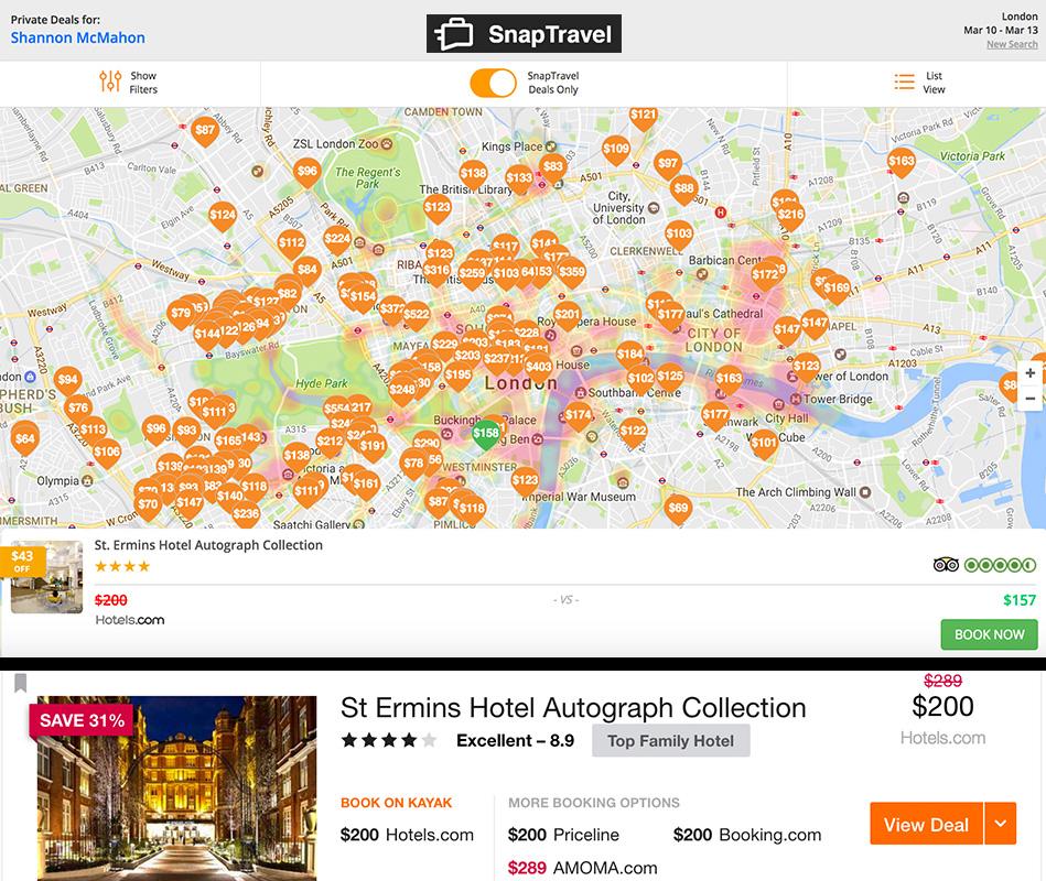 London map snap vs hotels