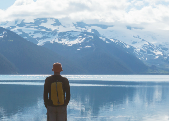 Person looking at lake in British Columbia