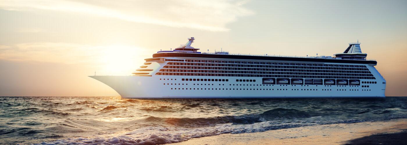 cruise ship off the coast.
