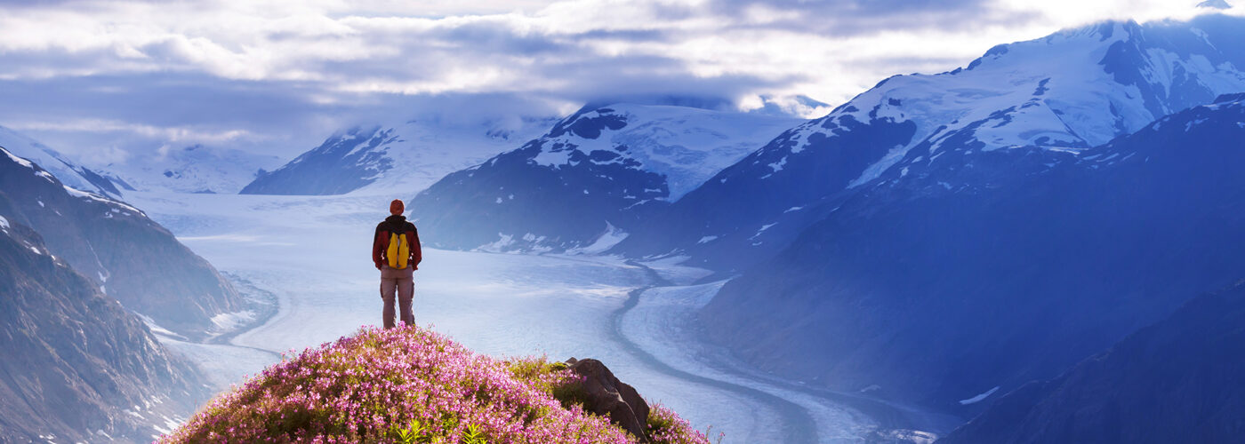 hiker in alaska mountains.