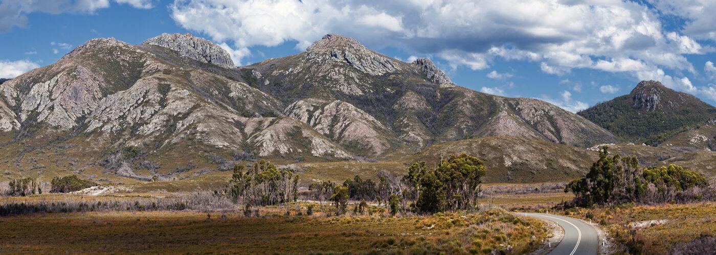 tasmania road and mountains.