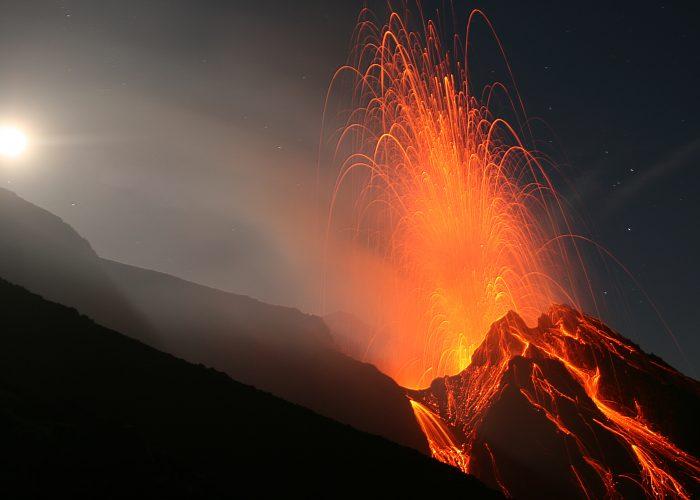 After-Dark Volcano Eruptions in Italy