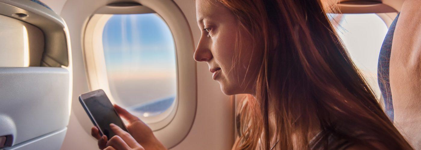 Woman phone airplane mode