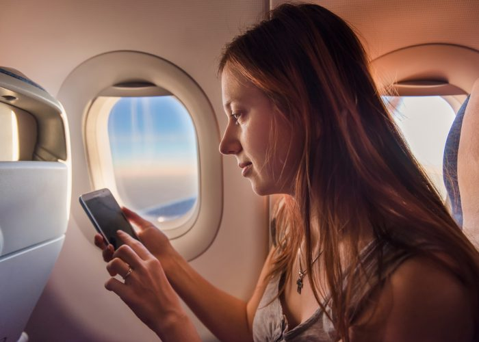 Woman phone airplane mode