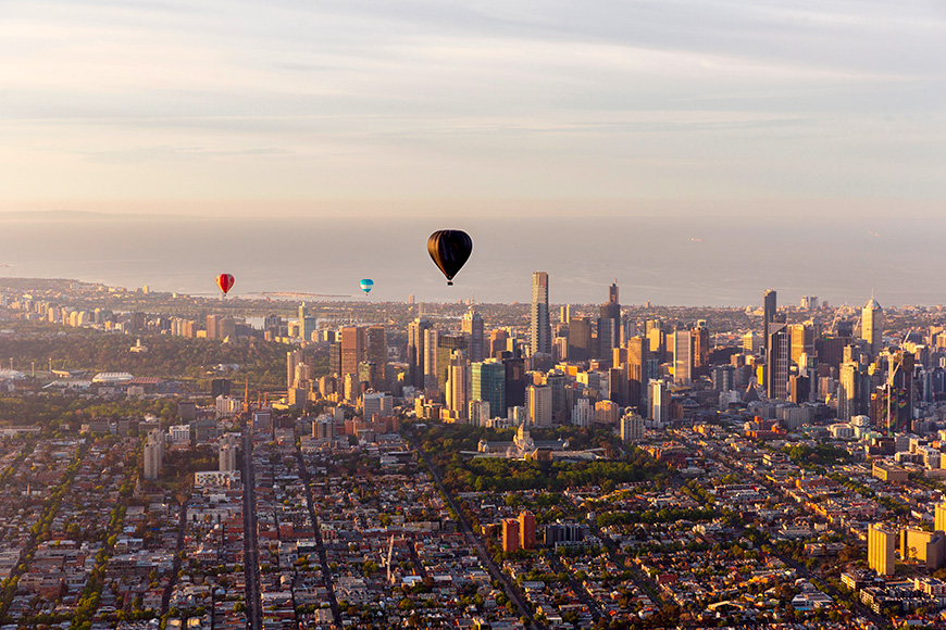 Hot air balloons passing by Melbourne, Australia.