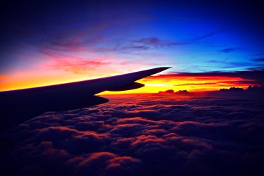 airplane wing at sunrise.