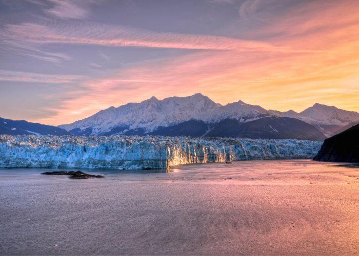 sunset over glacier in alaska
