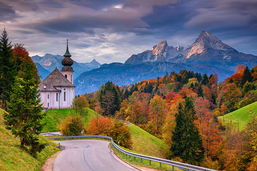 fall colors in bavarian alps.