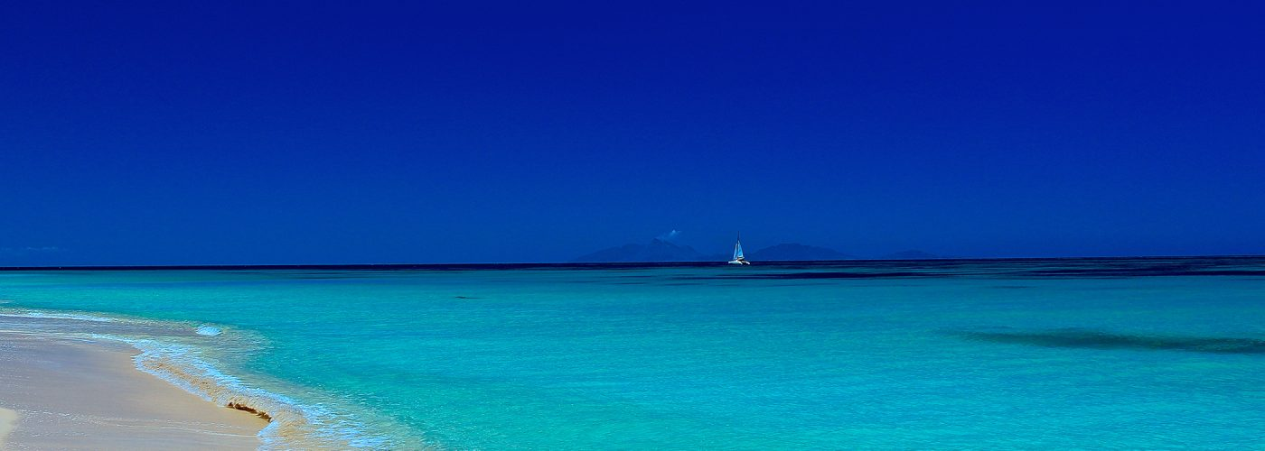 caribbean beach with sailboat