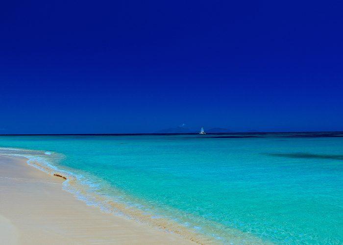 caribbean beach with sailboat