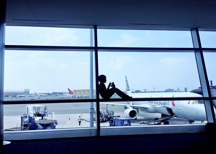 child at airport gate