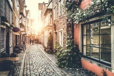cobblestone street in paris
