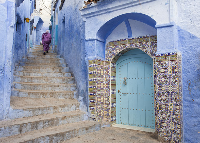 door in chefchaouen morocco