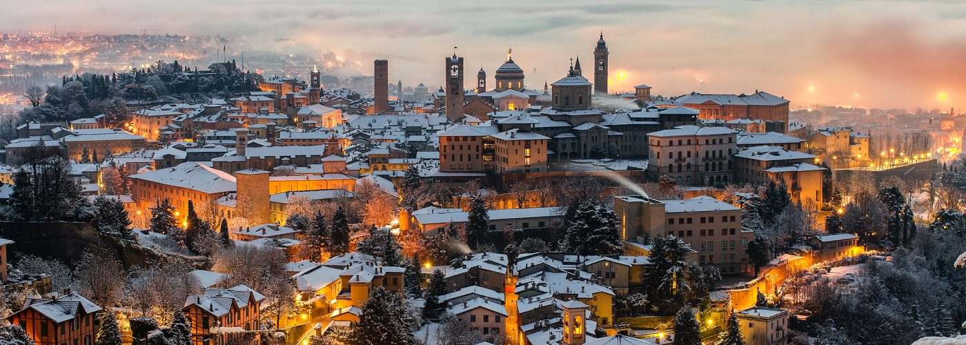 italian village in winter snow