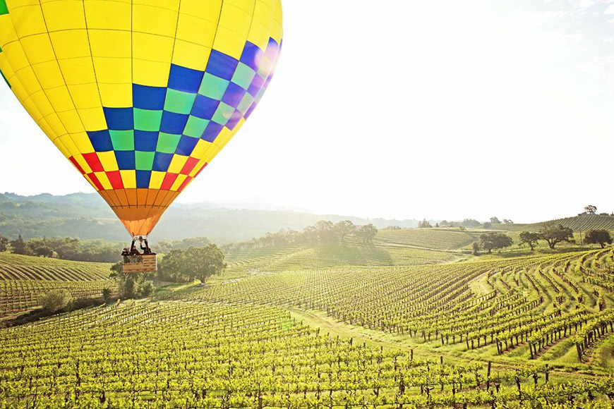 hot air balloon over napa valley Up & Away Ballooning