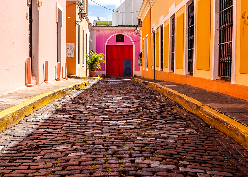 cobblestone street in old san juan
