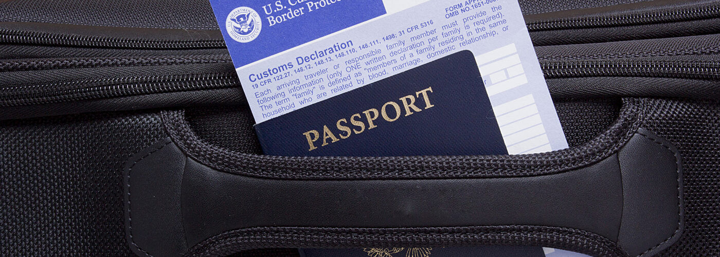passport and customs declaration form.