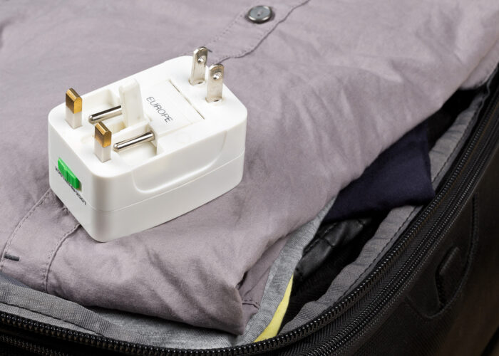 travel adapter in suitcase.