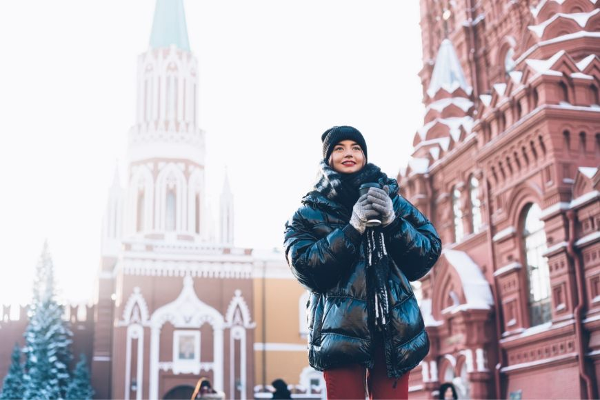 woman in oversized coat in winter.