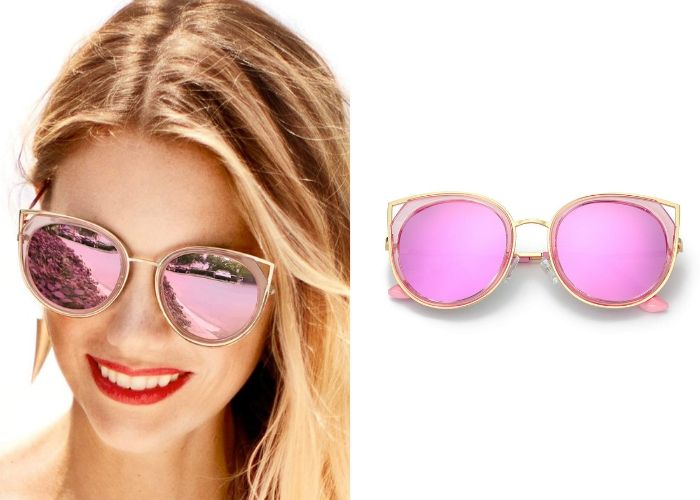 woman wearing pink sunglasses