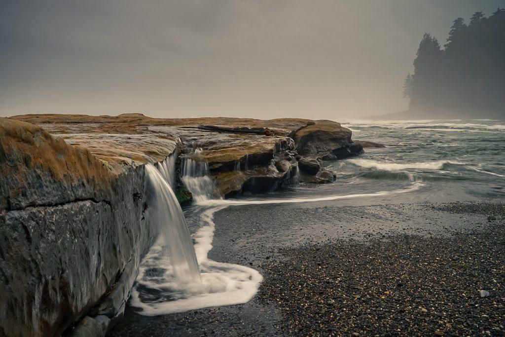 port renfrew waterfall on beach