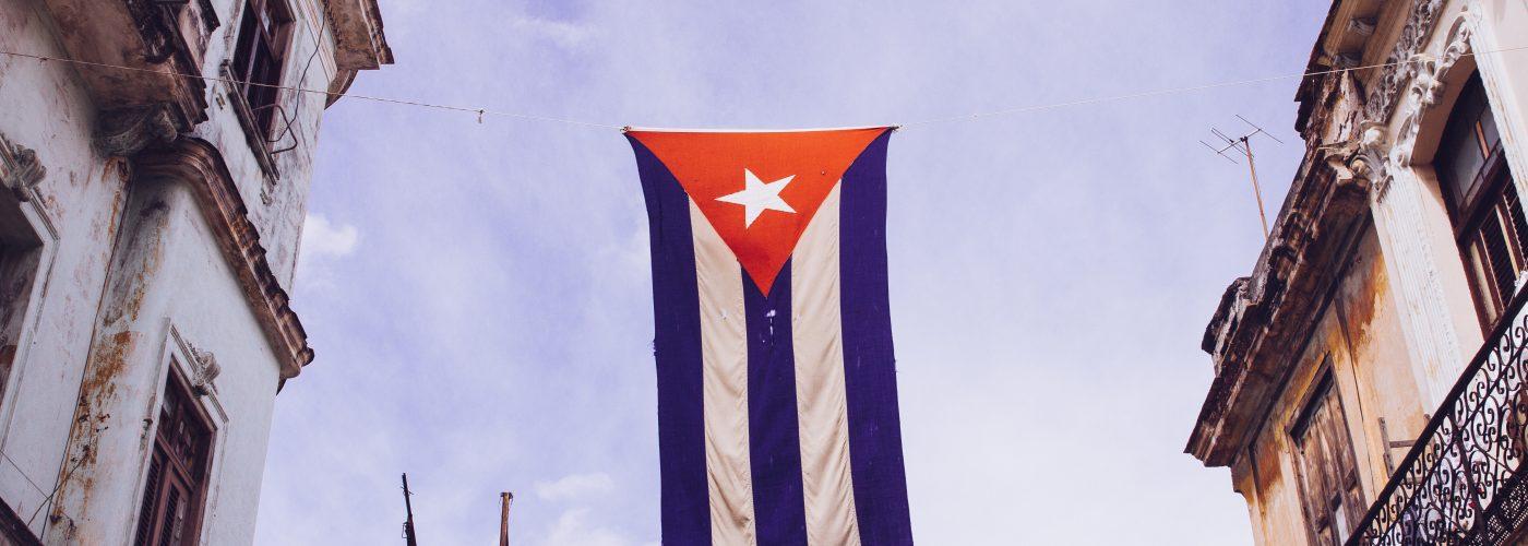 cuba flag on display