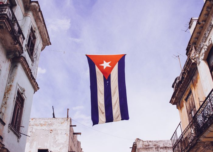 cuba flag on display