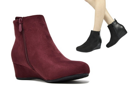 Dream pairs cinq low wedge heel ankle boots