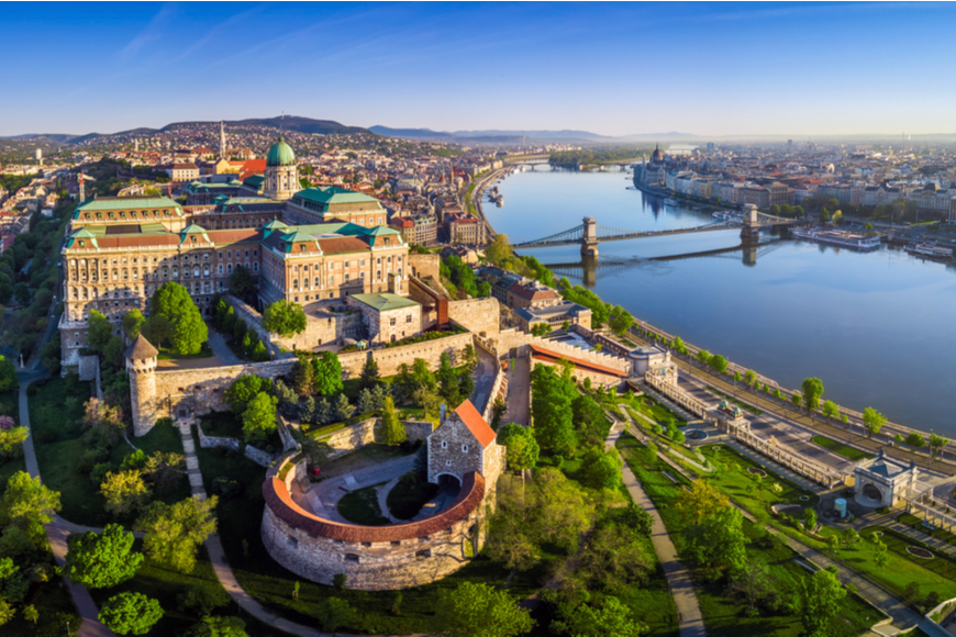 aerial view of Budapest Hungary