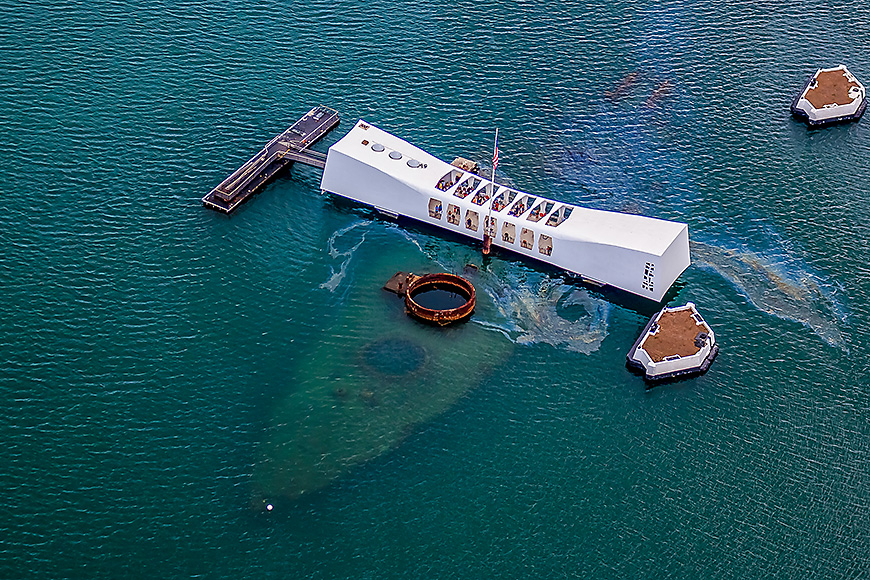 erial view of uss arizona memorial, world war ii valor in the pacific national monument pearl harbor honolulu hawaii