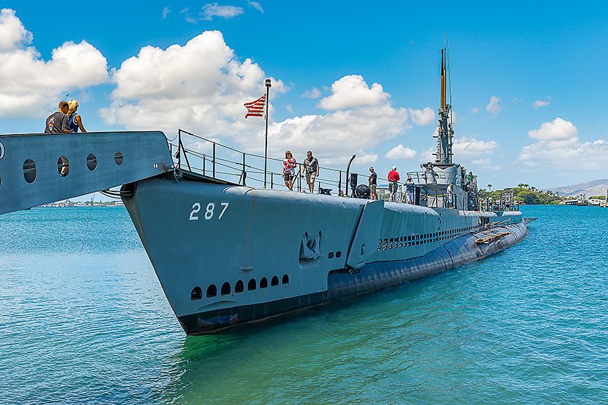 Battleship in pearl harbor bay
