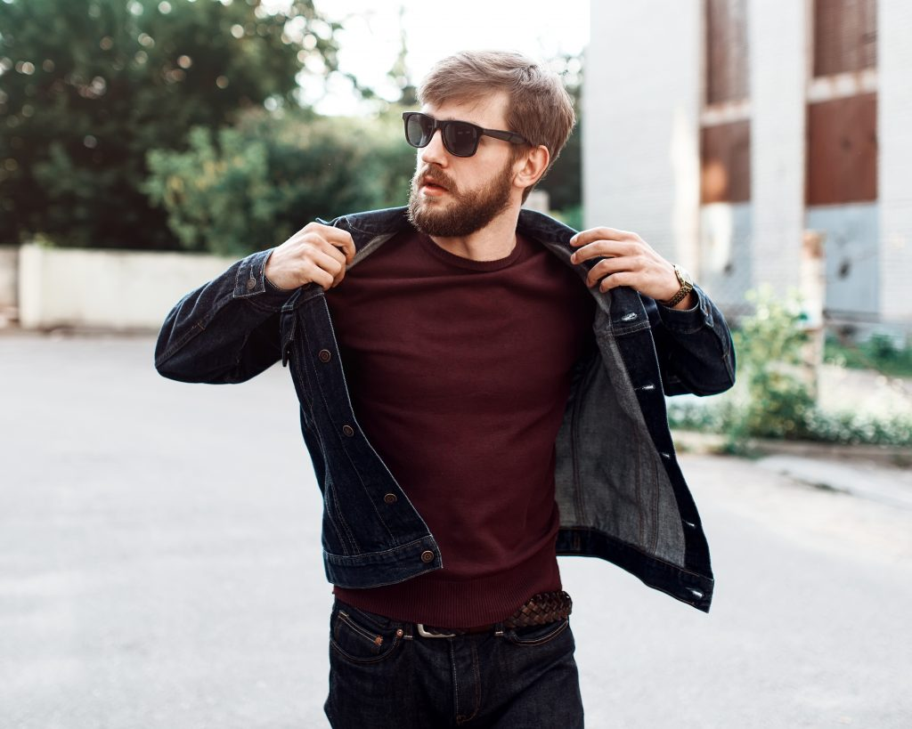 man wearing dark denim