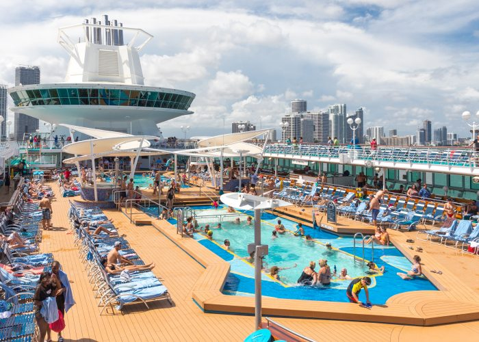 deck of cruise ship with people