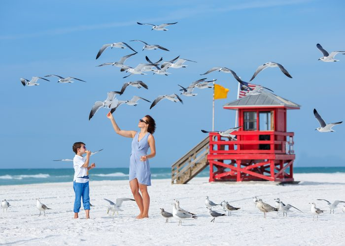 mother and child on clearwater beach