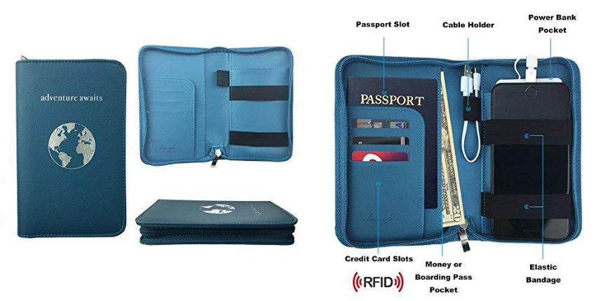 Phone-Charging passport holder with power bank.