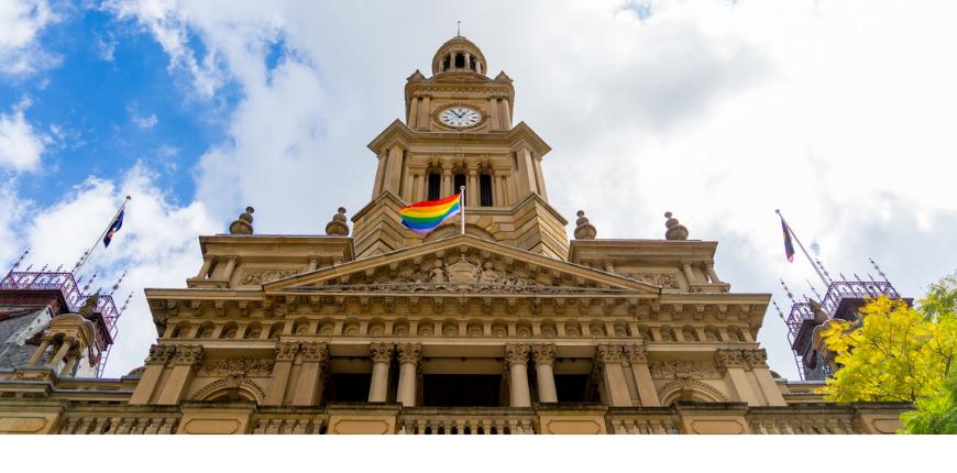 sydney australia town hall rainbow flag