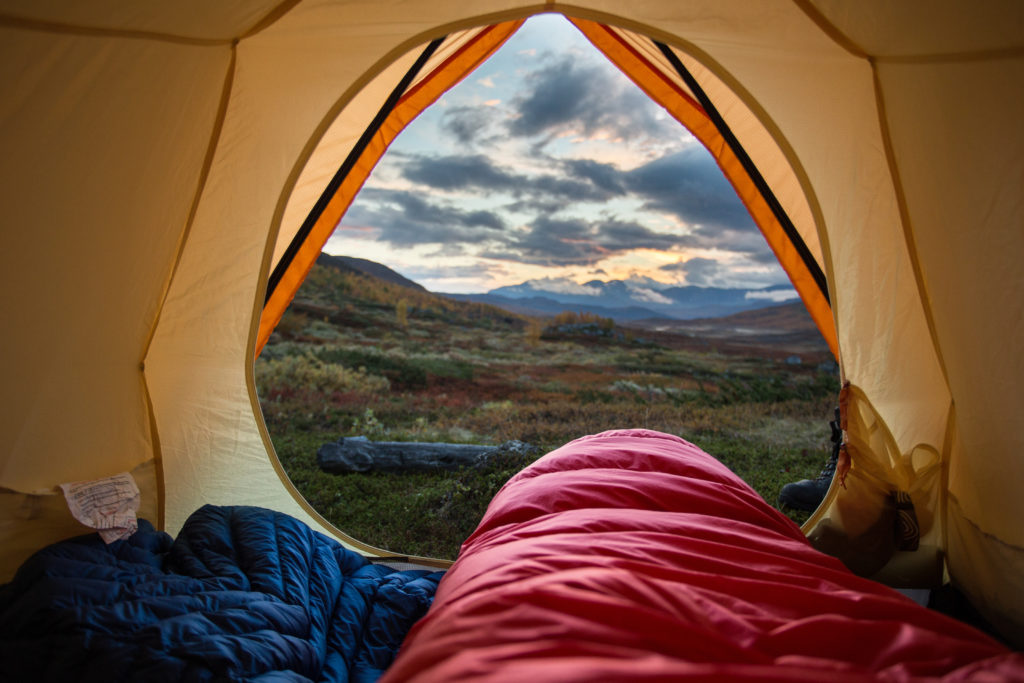 View from inside of a tent