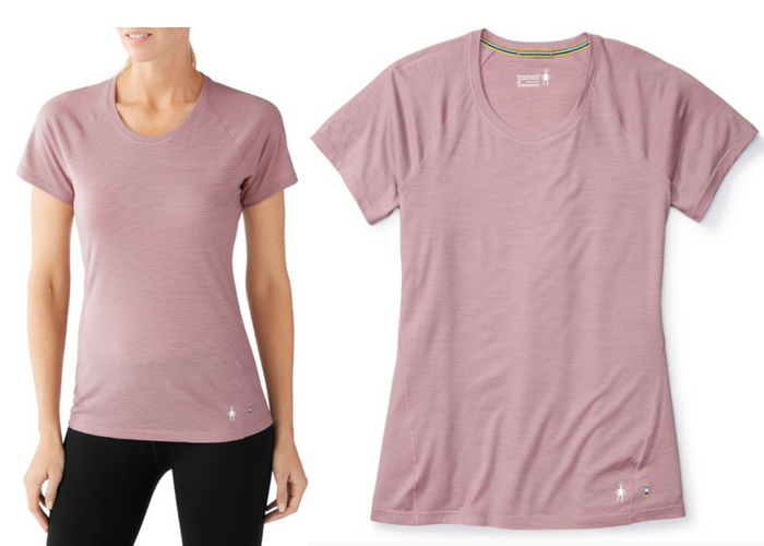 Women's merino 150 base layer micro stripe short sleeve.