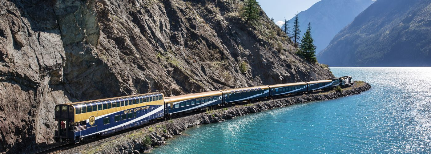 Rocky Mountaineer rounds Seton Lake