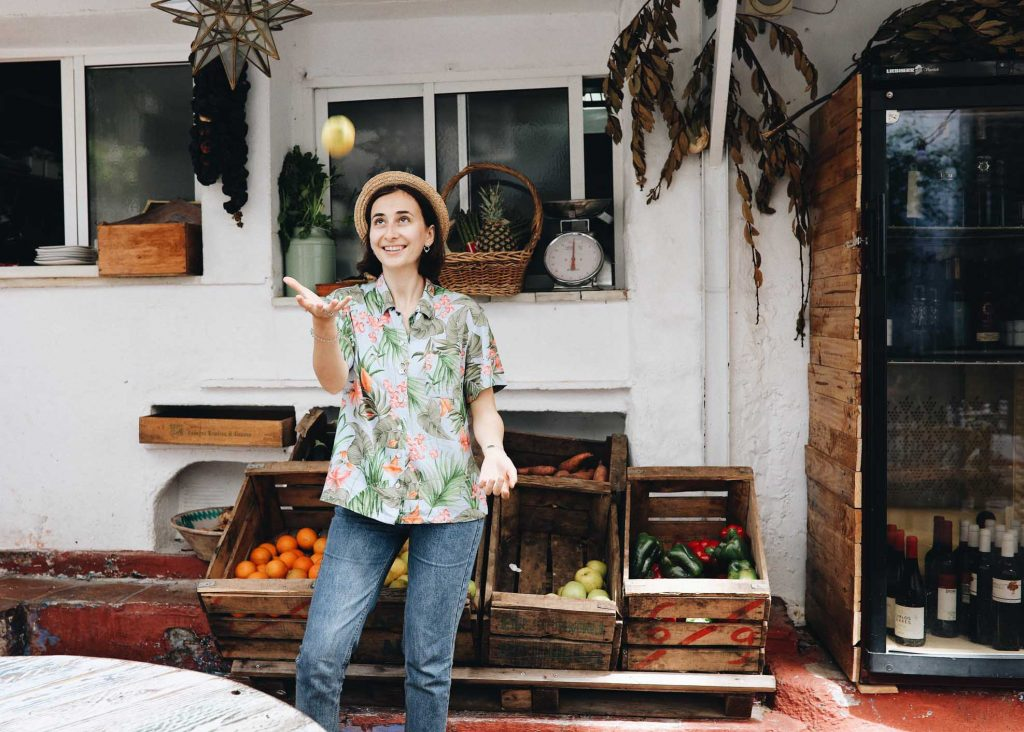 woman juggling food