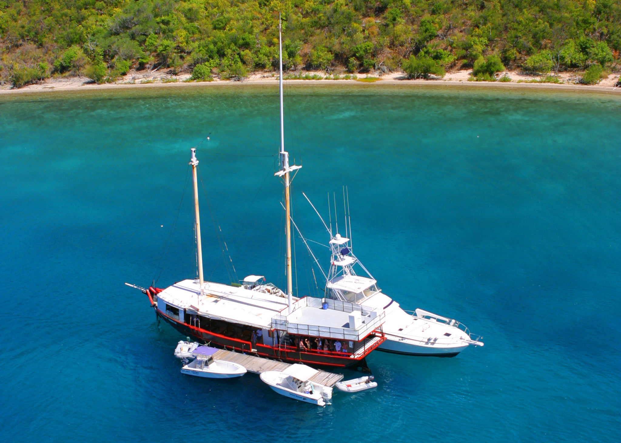 BVI willy t boat from above