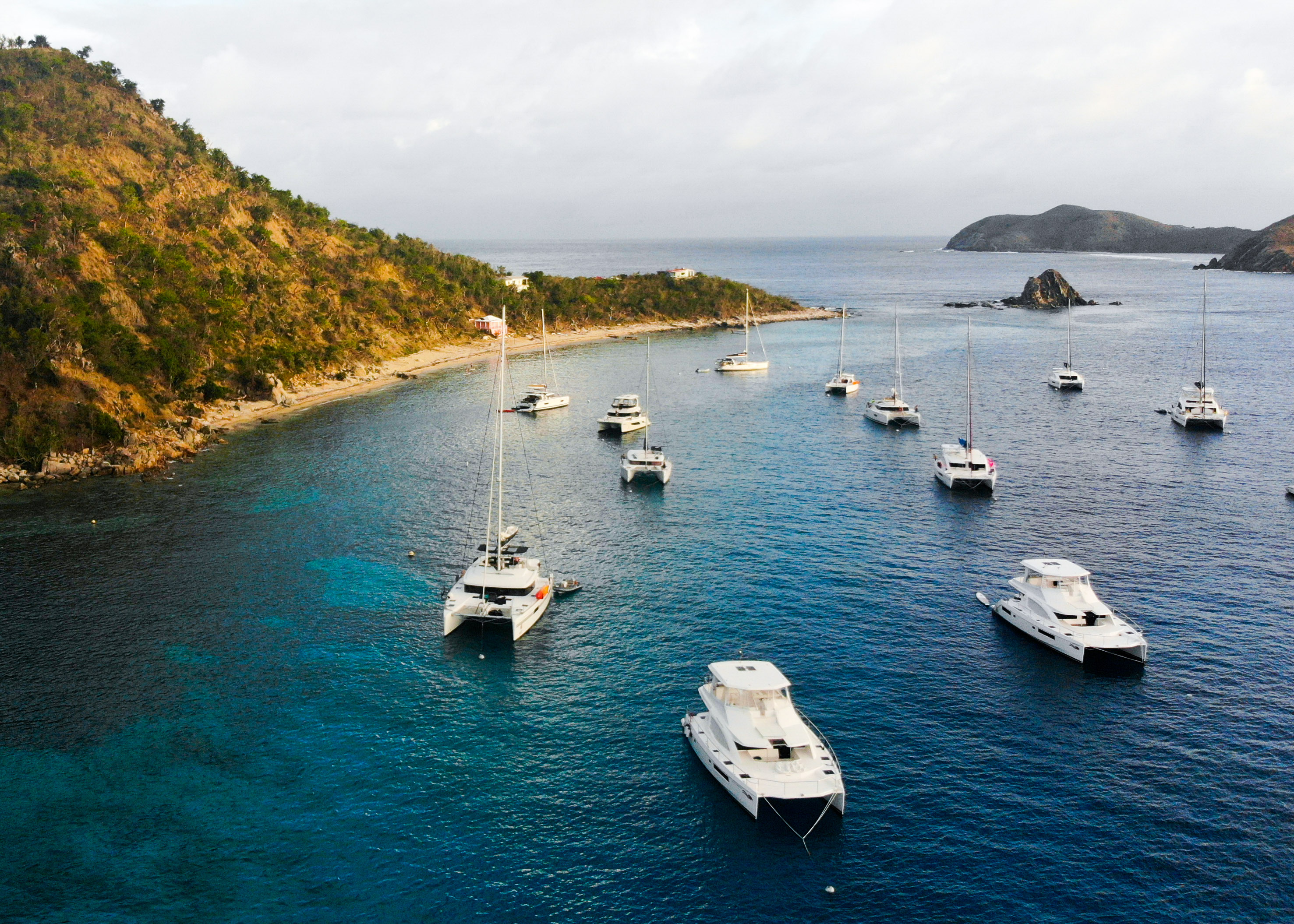 boats at cooper island in the british virgin islands