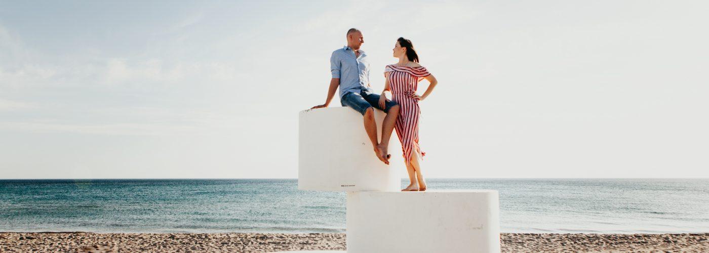 man woman at beach