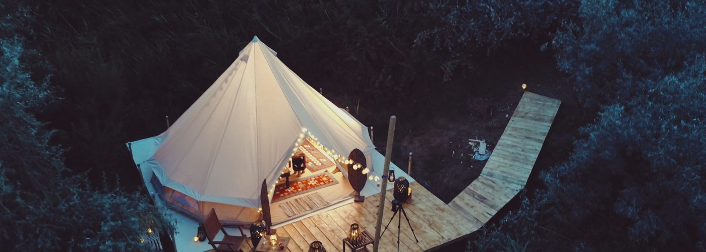 glamping aerial view nature