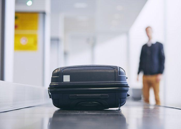luggage on baggage carousel